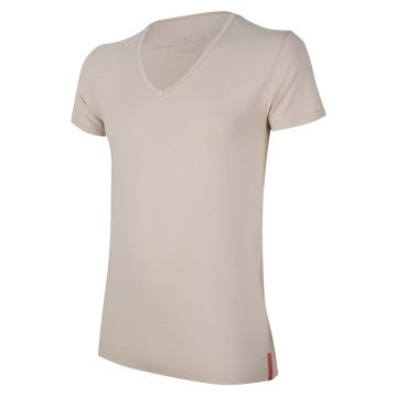 Khaki T-shirt Deep V-neck front